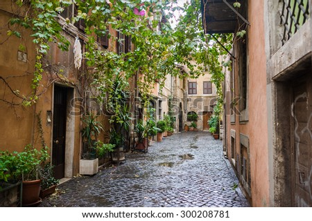 Narrow street in the old part of Rome. Trastevere. Italian facade - stock photo