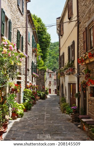 Narrow street in the old town in Italy - stock photo