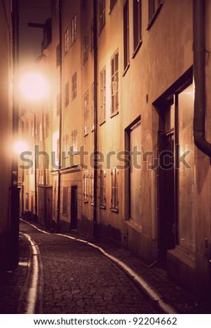 Narrow street in the old town of Stockholm - stock photo