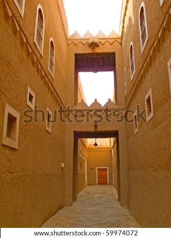 Narrow street of the old Riyadh - stock photo