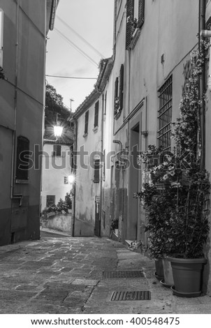 Narrow street with flowers in Italy.Black and white photography. - stock photo