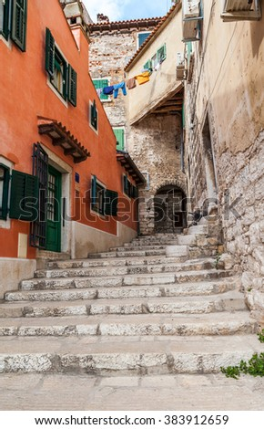 Narrow streets in Rovinj's medieval old town, Croatia - stock photo
