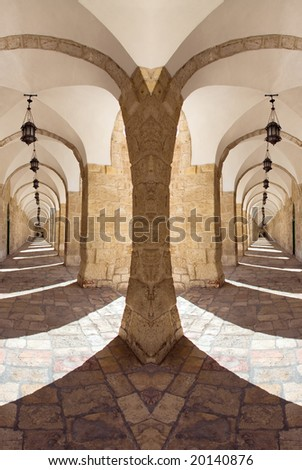 Narrow streets of Jerusalem's. Old City - stock photo