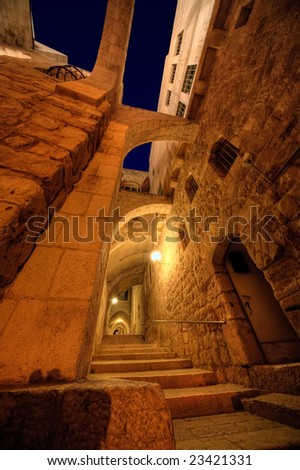 Narrow streets of Jerusalem's Old City at night. - stock photo