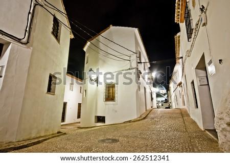 Narrow streets of little Spanish town Altea, Costa Blanca, Spain - stock photo