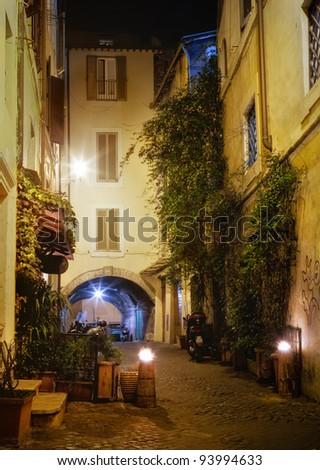 Narrow streets of Rome, Italy - stock photo