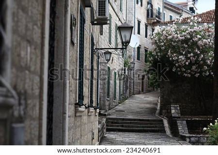narrow streets of the old European city landscape - stock photo