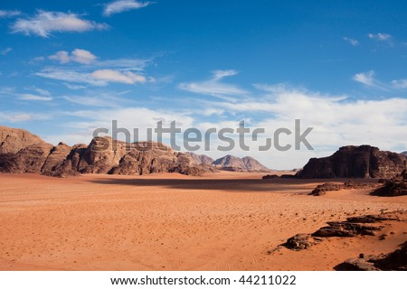 Narrow view of mountains and desert in Wadi Rum, Jordan.