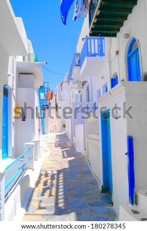 Narrow white lanes on the island of Mykonos, Greece  - stock photo