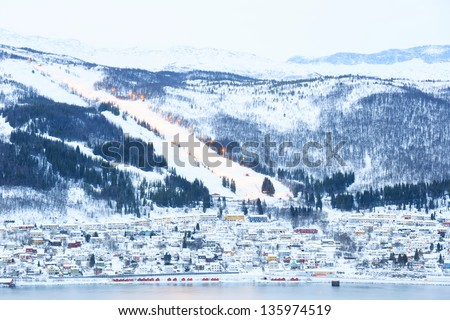 Narvik Cityscape With Skiing