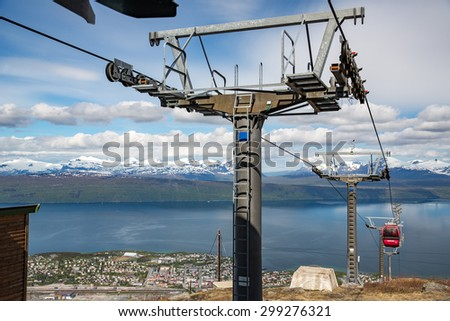 Narvik, Norway - June 17, 2015: View of the cable car in Narvik.