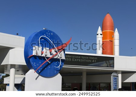 NASA  Kennedy Space Center CAPE CANAVERAL, FLORIDA November 1th, 2014.  Interior of NASA Kennedy Space Center, Orlando - stock photo