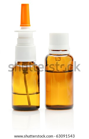 Nasal spray and dropper medical bottles isolated on white background - stock photo