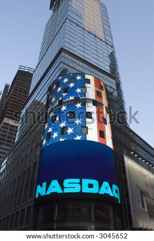 Nasdaq building with american flag - stock photo