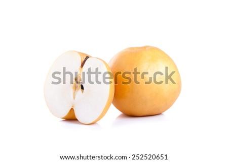 Nashi pear fruit over white background - stock photo