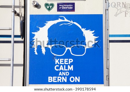 NASHUA, NH - FEBRUARY 6: Caricature of Democrat Senator Bernie Sanders as seen on the back of a camper on February 6, 2016 in Nashua, NH.