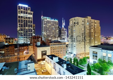 Nashville, Tennessee cityscape at night. - stock photo