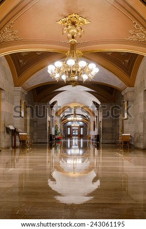 NASHVILLE, TENNESSEE - DECEMBER 1: Corridor on the main floor of the Tennessee State Capitol building on December 1, 2014 in Nashville, Tennessee  - stock photo