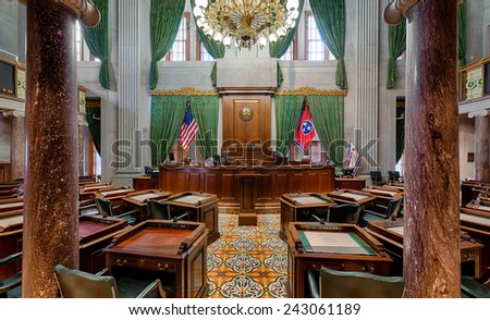 NASHVILLE, TENNESSEE - DECEMBER 1: Senate Chamber in the Tennessee State Capitol building on December 1, 2014 in Nashville, Tennessee - stock photo