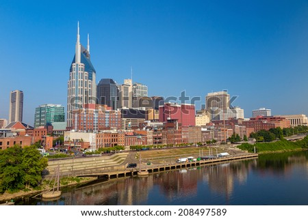 Nashville, Tennessee downtown skyline at Cumberland River. - stock photo