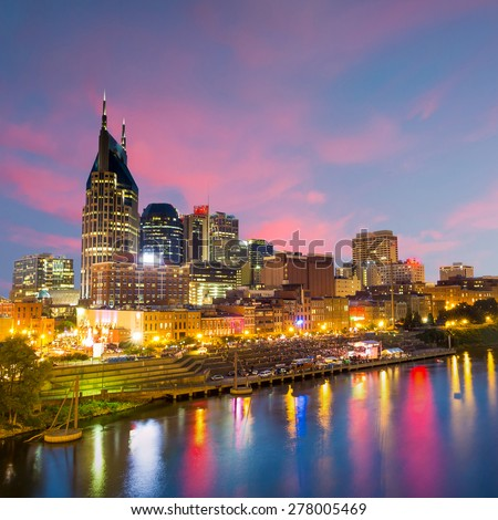 Nashville, Tennessee downtown skyline at twilight - stock photo