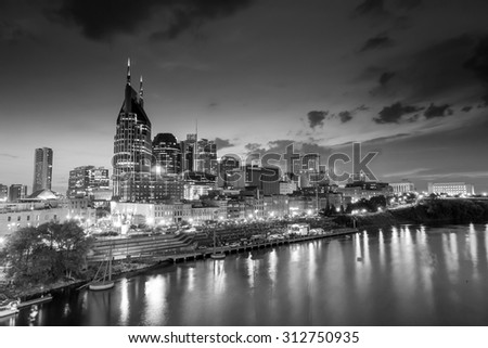 Nashville, Tennessee downtown skyline at twilight USA
