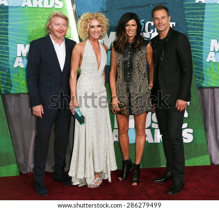 NASHVILLE, TN-JUN 10: (L-R) Phillip Sweet, Kimberly Schlapman, Karen Fairchild and Jimi Westwood of Little Big Town attend the 2015 CMT Music Awards at Bridgestone Arena on June 10, 2015 in Nashville. - stock photo