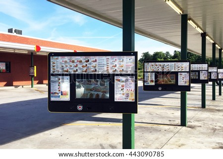 NASHVILLE, TN-JUNE 24, 2016:  This is the screen where you order your food at a Sonic drive-in restaurant.  Your meal is delivered by car hops, many wearing roller skates.