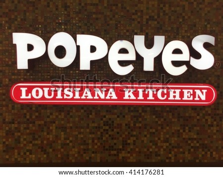 "NASHVILLE, TN-MAY 1, 2016:  Popeyes restaurant in Nashville.  Popeyes celebrates its roots by talking about their ""Louisiana Kitchen""."