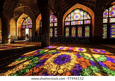 Nasir ol Molk Mosque is a traditional mosque in Shiraz, Iran. It is known as Masjed-e Naseer ol Molk in Persian and was built in 1876 - 1888. - stock photo