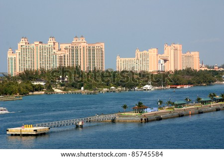 NASSAU,BAHAMAS-APRIL 11:  The Atlantis hotel, casino & waterpark, which opened in March 2007, beckons visitors on cruise ships entering Nassau's harbor in the Bahamas on April 11, 2011.