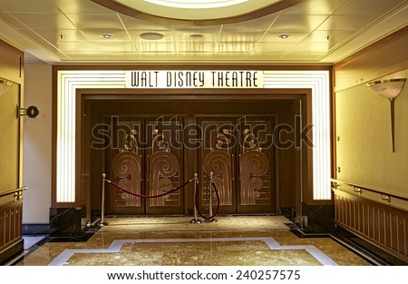 NASSAU, BAHAMAS, DECEMBER 4, 2014: Entrance to the Walt Disney Theatre, one of the main entertainment venues in the Disney Cruise Dream, one of the biggest cruise ships that navigate the Caribbean. - stock photo