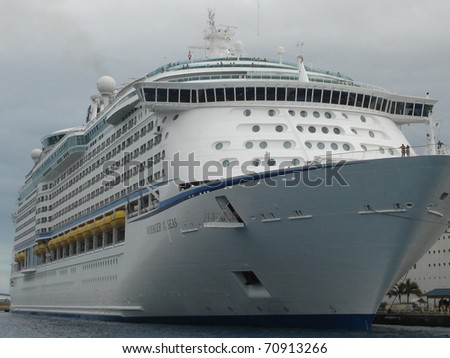 NASSAU, BAHAMAS  - DECEMBER 11: The Royal Caribbean, Voyager of the Seas Cruise Ship docked on December 11, 2005 in Nassau in the Bahamas. - stock photo