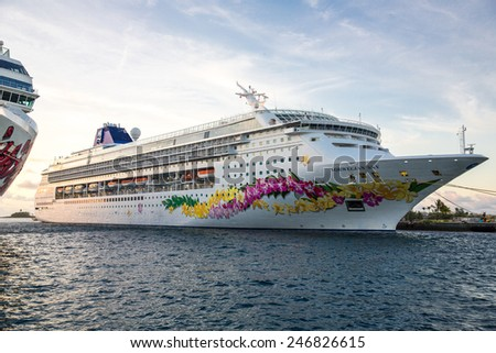 Nassau, Bahamas - November 12: View of cruise ships docked in Nassau, Bahamas on November 12, 2014. - stock photo