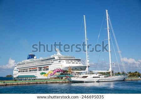 Nassau, Bahamas - November 11: View of Norwegian Sky cruise ship docked into Nassau, Bahamas on November 11, 2014. - stock photo