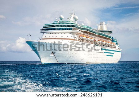 NASSAU, BAHAMAS - SEPTEMBER, 06, 2014: Royal Caribbean's ship, Majesty of the Seas, sails in the Port of the Bahamas on September 06, 2014 - stock photo
