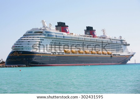 NASSAU-FEB 5: Disney Dream, a new cruise ship, enters in Nassau, Feb 5, 2012. The 130,000-ton vessel is the 3th Disney Cruise Line ship.