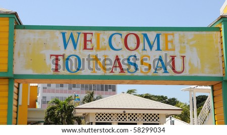 Nassau Harbor Welcome Sign - stock photo