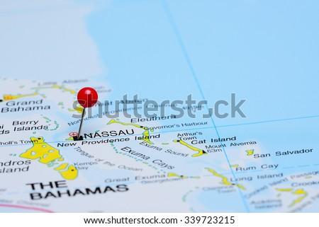 Nassau pinned on a map of America  - stock photo