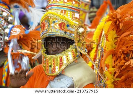 NASSAU, THE BAHAMAS - JANUARY 1: Dancer in traditional costume at Junkanoo Festival on January 1st 2014 in Nassau, the Bahamas - stock photo