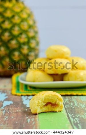 Nastar or Indonesian pineapple tart cookies. Served to celebrate Eid al-Fitr