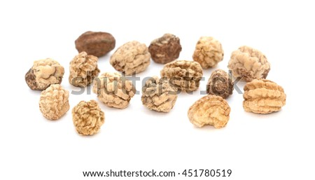 Nasturtium seeds - macro shot, isolated on a white background - stock photo