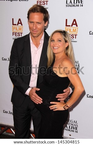 """Nat Faxon and Meghan Gadd at """"The Way Way Back"""" Premiere as part of the Los Angeles Film Festival, Regal Cinemas, Los Angeles, CA 06-23-13 - stock photo"""