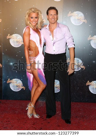 Natalie Lowe and Brendan Cole arriving for the Strictly Come Dancing 2012 Launch, Television Centre, London. 11/09/2012 Picture by: Henry Harris - stock photo