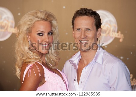 Natalie Lowe and Brendon Cole arriving for the Strictly Come Dancing 2012 Launch, Television Centre, London. 11/09/2012 Picture by: Simon Burchell - stock photo