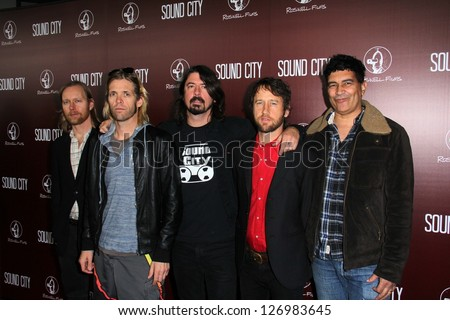 "Nate Mendel, Taylor Hawkins, Dave Grohl, Chris Shiflett, Pat Smear at the ""Sound City"" Los Angeles Premiere, Cinerama Dome, Hollywood, CA 01-31-13"