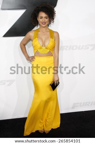 Nathalie Emmanuel at the Los Angeles premiere of 'Furious 7' held at the TCL Chinese Theatre IMAX in Hollywood, USA on April 1, 2015.  - stock photo
