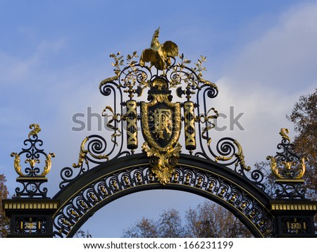 Nation emblem of the Republic of France on a decorated metal door at the Elysee Palace