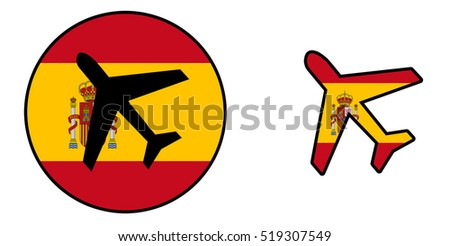 Nation flag - Airplane isolated on white - Spain