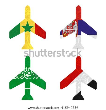Nation Flag. Airplane recycled paper on white background. ( Saudi Arabia , Sealand Principality , Senegal , Serbia ) - stock photo